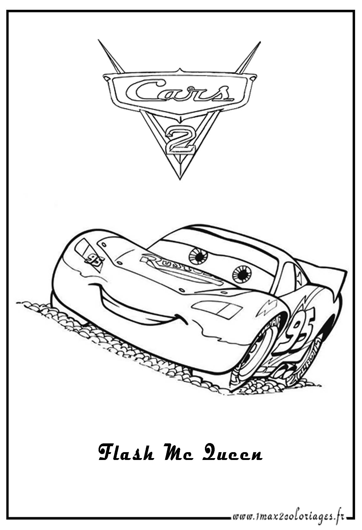 coloriage 5 dessin Cars Flash Mcqueen