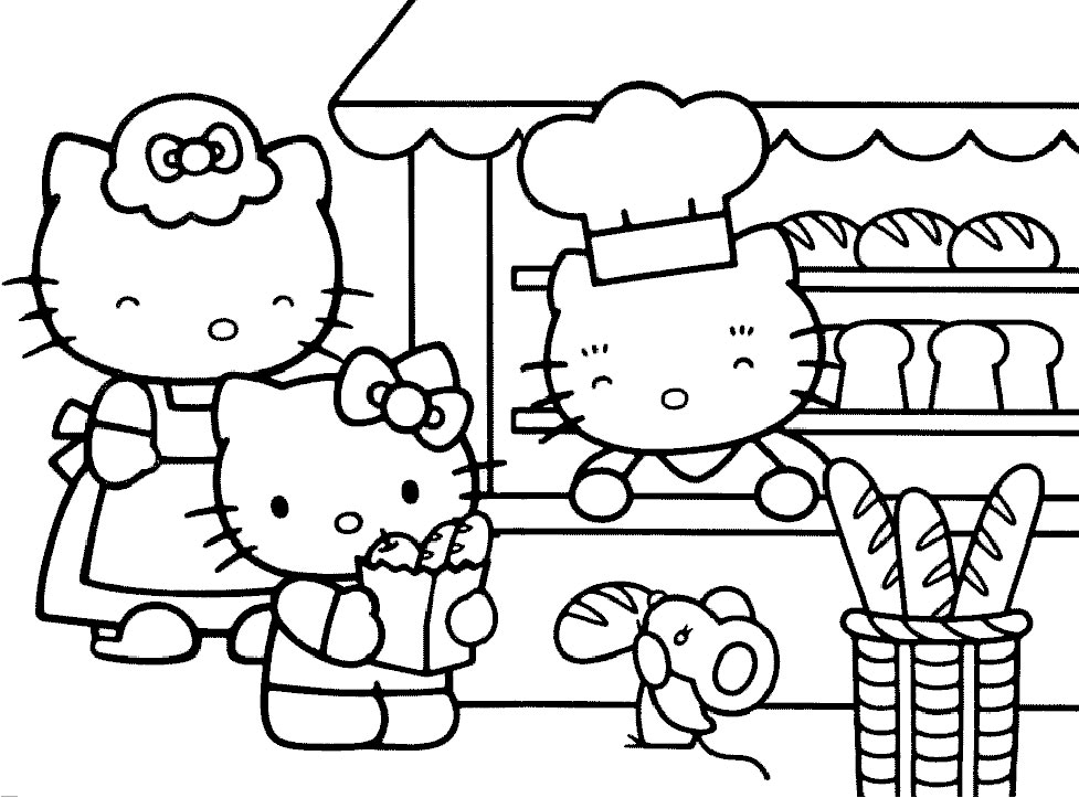 coloriage 3 dessin Hello Kitty