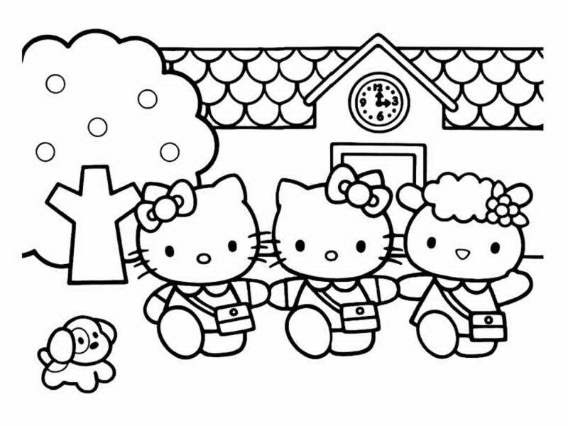coloriage 5 dessin Hello Kitty