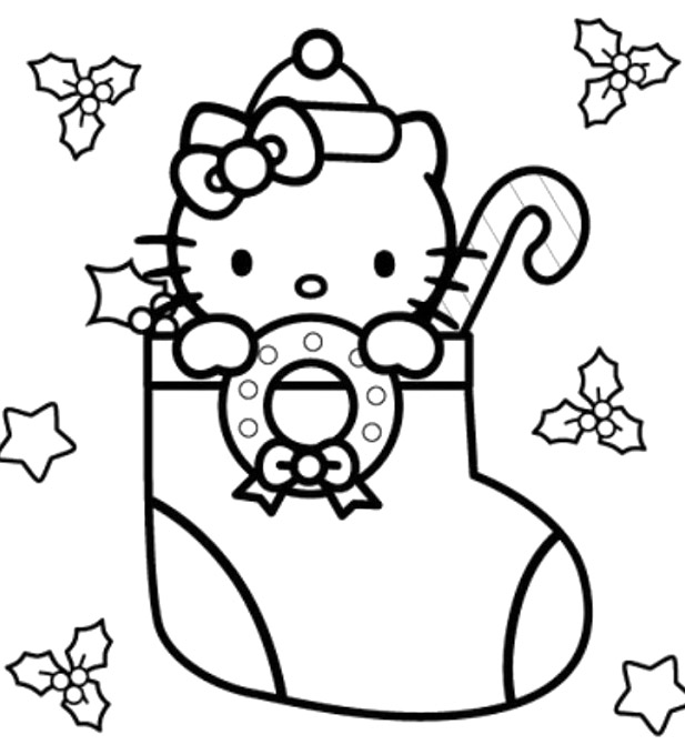 coloriage 10 dessin Hello Kitty Noel