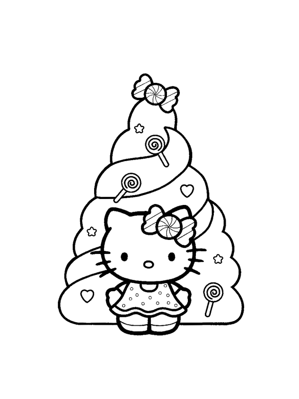 coloriage 15 dessin Hello Kitty Noel