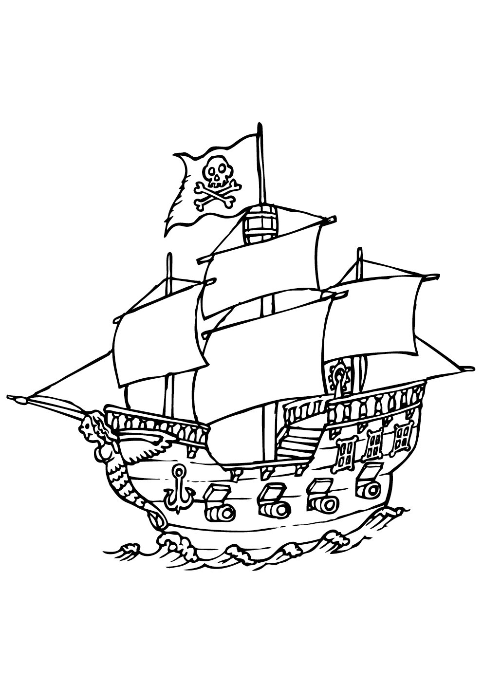 coloriage de bateaupirate