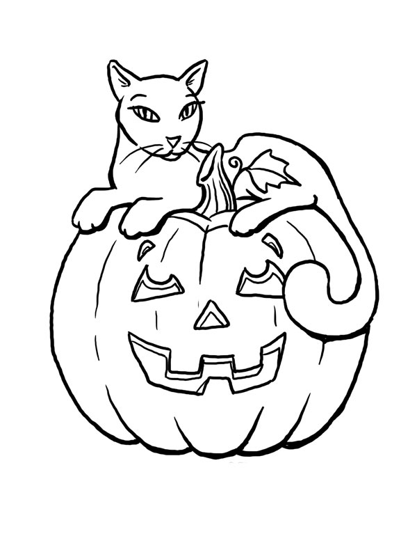 cat in a pumpkin halloween coloring page coloriage les beaux dessins de f 234 tes 224 7985