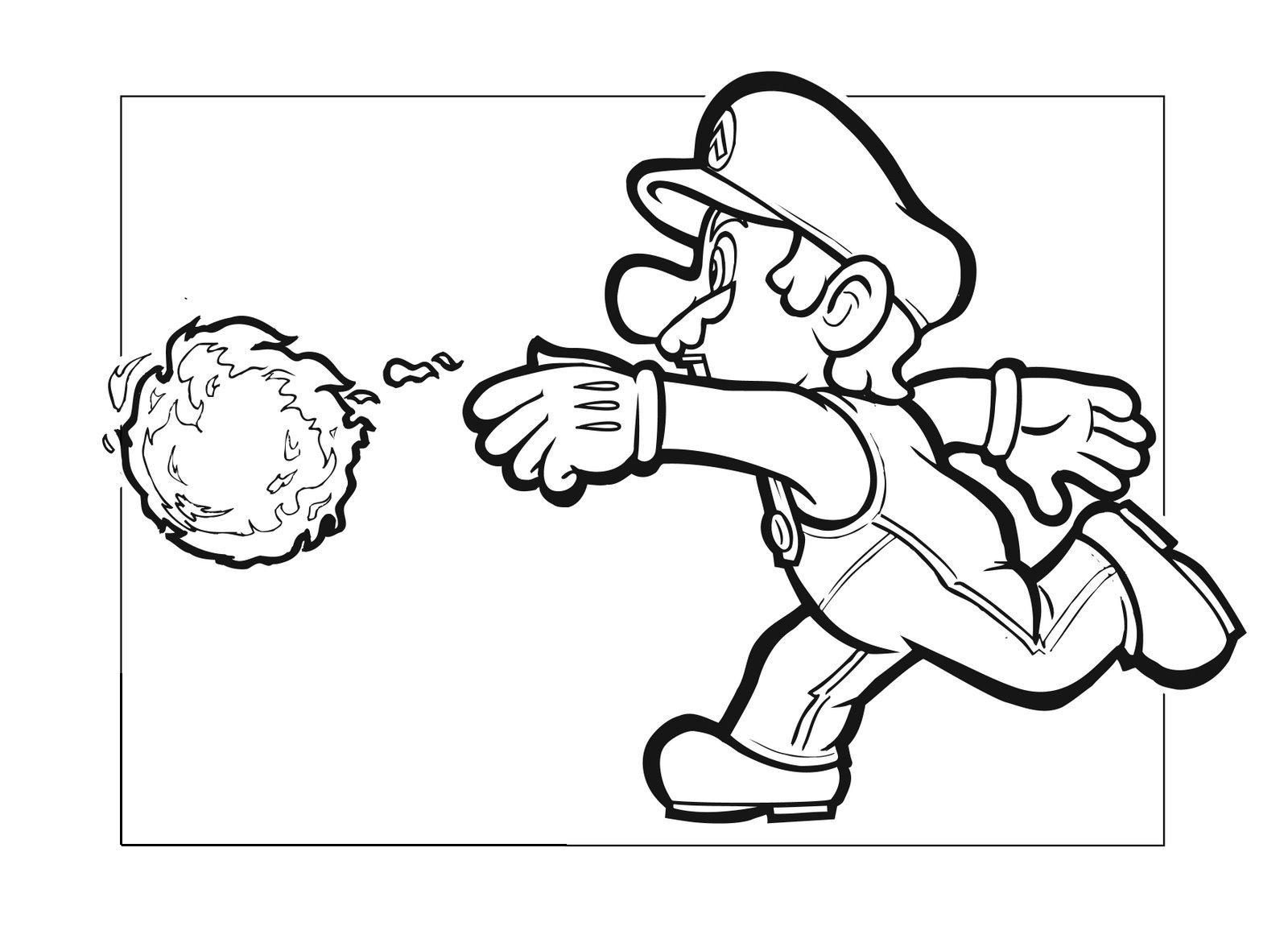fireball mario coloring pages - photo#23