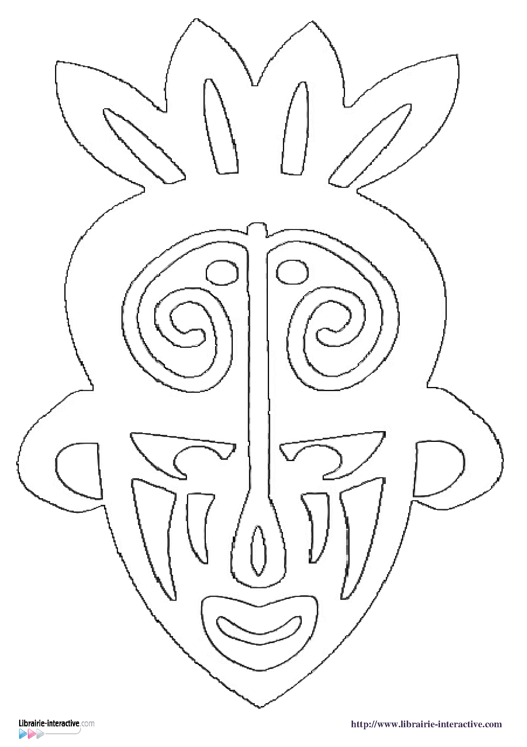 Coloriage masque africain maternelle imprimer et obtenir - Masque africain a imprimer ...