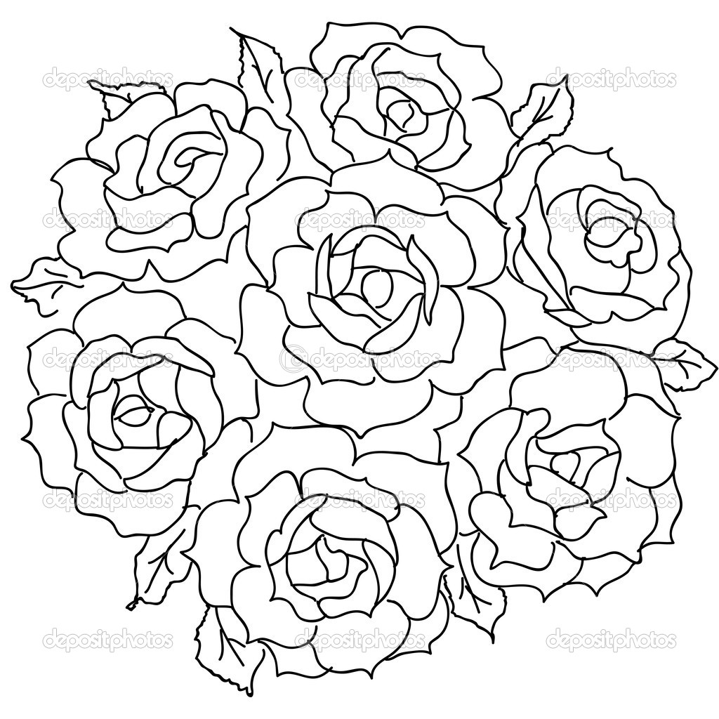 Coloriage roses les beaux dessins de nature imprimer for How to draw a black and white rose
