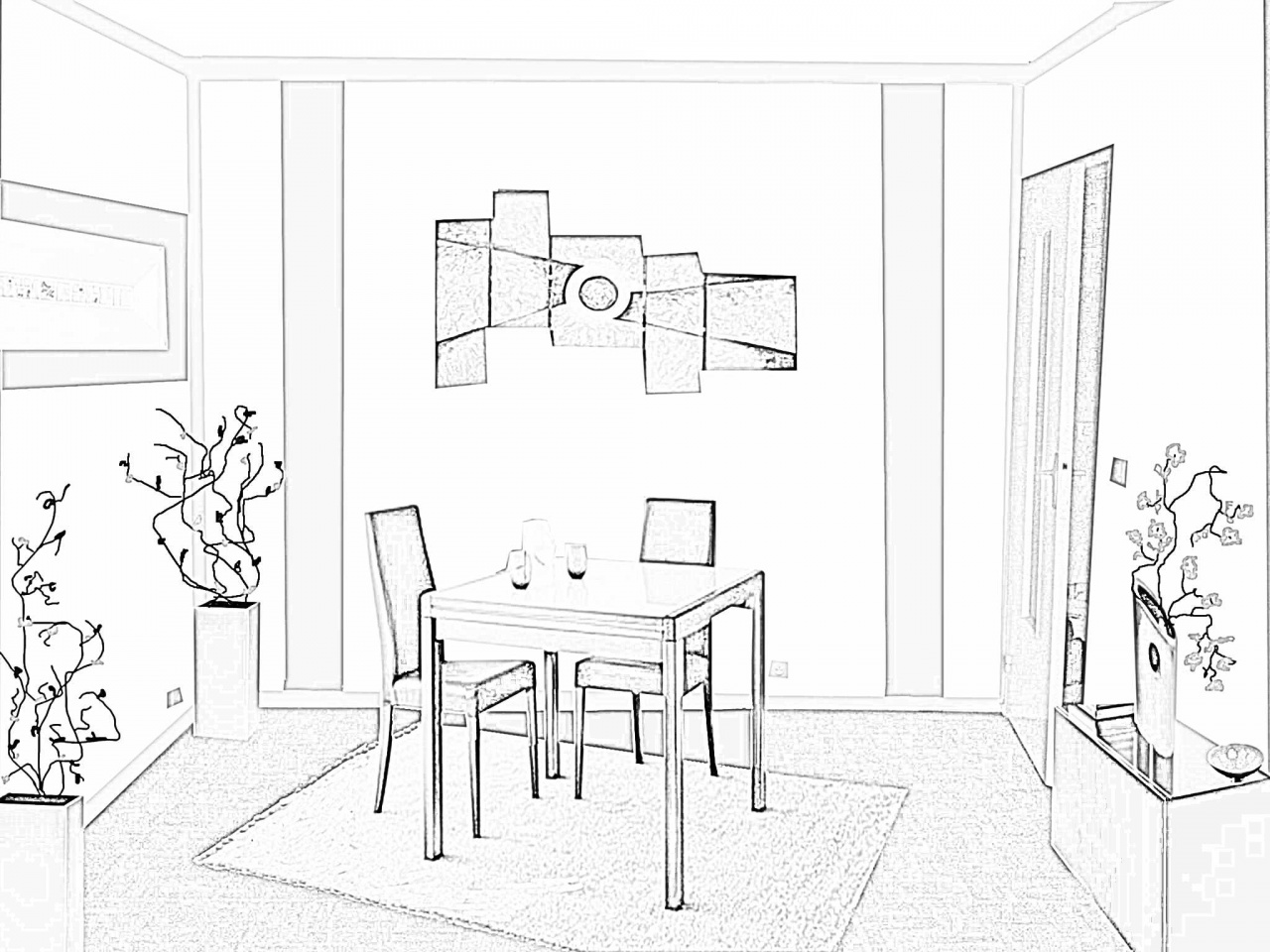 coloriage salle a manger les beaux dessins de autres. Black Bedroom Furniture Sets. Home Design Ideas