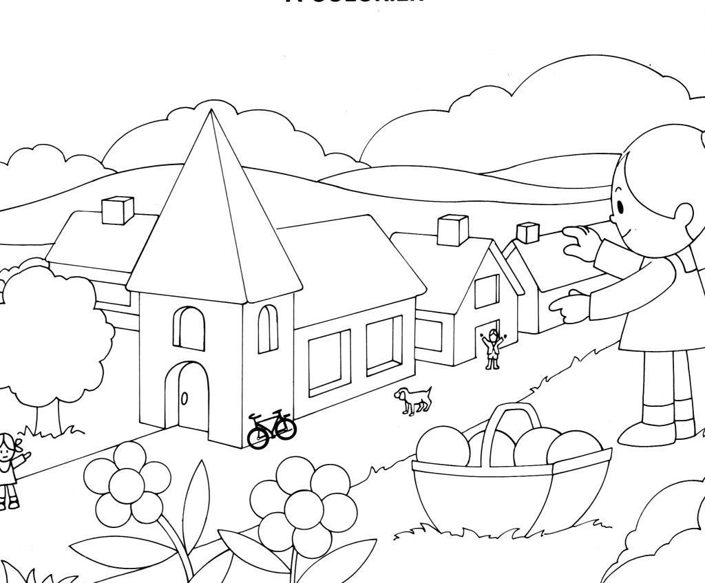 coloriage de village
